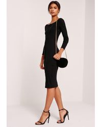 Missguided Long Sleeve Bardot Rib Midi Dress Black