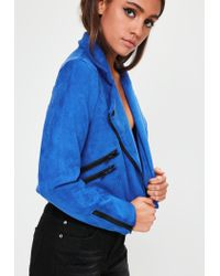 Missguided - Blue Crop Faux Suede Biker Jacket - Lyst