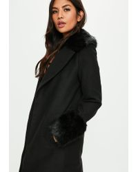 Missguided | Black Formal Coat With Fur Collar And Cuff | Lyst