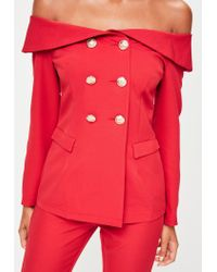Missguided | Red Bardot Double Breasted Tailored Blazer | Lyst