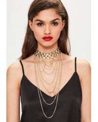 Missguided | Metallic Gold Statement Hanging Chain Choker Necklace | Lyst