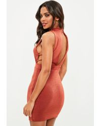Missguided Brown High Neck Side Strap Bodycon Dress