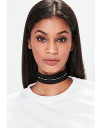 Missguided - Black Mesh Chain Trim Woven Choker Necklace - Lyst
