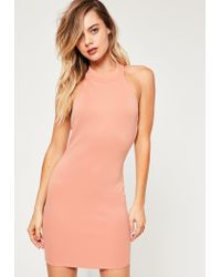 Missguided Multicolor Nude Scuba High Neck Bodycon Dress