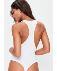Missguided - White Racer Back Plunge Bodysuit - Lyst