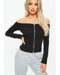 Missguided Black Bardot Zip Through Cropped Top