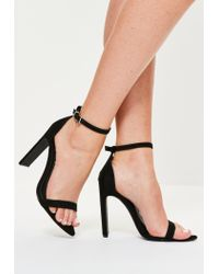 31545cff789 Lyst - Missguided Pointed Toe Barely There Heeled Sandals Black in Black