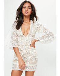 Missguided Natural Nude Kimono Flared Sleeve Lace Bodycon Dress