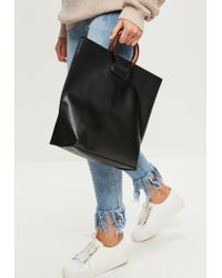 Missguided Black Clear Cirlce Handle Tote Bag