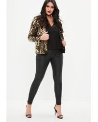 Missguided Metallic Curve Gold And Black Sequin Jacket