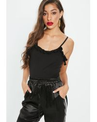 Missguided Black Tall Cami Frill Detail Bodysuit
