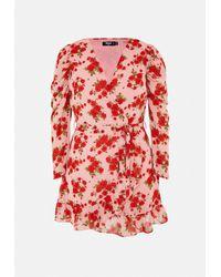 Missguided Size Pink Floral Print Ruffle Hem Wrap Tea Dress