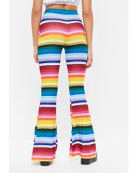 Missguided Yellow Rainbow Stripe Flare Trousers
