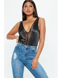 Missguided - Black Satin And Lace Plunge V Neck Bodysuit - Lyst