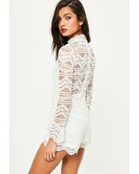 Missguided - White Zip Back Full Lace Romper - Lyst