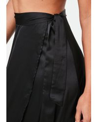 Missguided Black Satin Split Tie Side Maxi Skirt