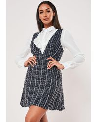 Missguided Blue Check 2 In 1 Pinafore Shirt Dress