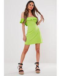 Missguided Green Lime Bardot Frill Skater Dress