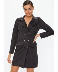 484d206eec20 Lyst - Missguided Black Faux Suede Blazer Dress in Black