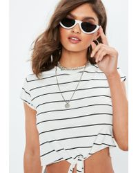 Missguided Tall White Tie Front Stripe Crop T Shirt