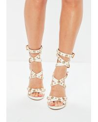 Missguided White Metal Studded Gladiator Sandals