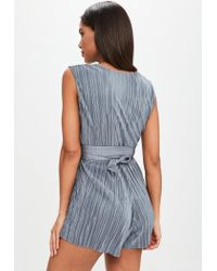 Missguided - Gray Grey V Front Plisse Tie Waist Playsuit - Lyst