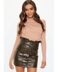 Missguided Multicolor Khaki Paperbag Faux Leather Mini Skirt