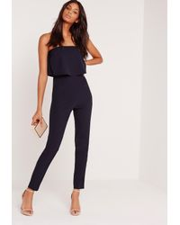 cd2444e05c4 Lyst - Missguided Bandeau Double Layer Jumpsuit Navy in Blue