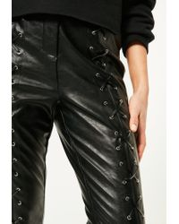 Missguided Petite Black Faux Leather Eyelet Lace Up Pants