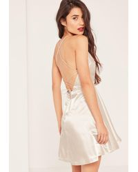 Missguided Multicolor Nude Silky Pleated Skater Dress