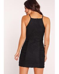 Missguided - Lace Square Neck Bodycon Dress Black - Lyst