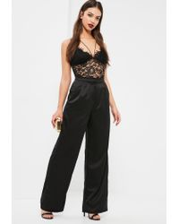 Missguided | Black Corded Lace Harness Bodysuit | Lyst