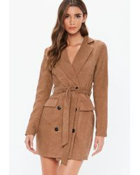 Missguided Brown Tan Cord Double Breast Blazer Dress