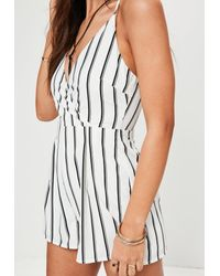 Missguided Petite White Stripe Cami Wrap Playsuit
