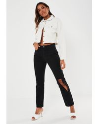 Missguided Black Wrath Highwaisted Torn Out Knee Jeans