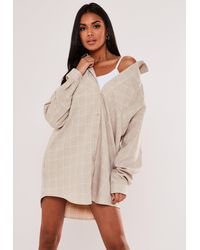 Missguided Natural Oversized Check Shirt Dress