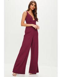 Missguided Purple Plum Wide Leg Jumpsuit