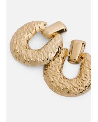 Missguided Metallic Gold Look Chunky Hammered Circular Dropped Earrings