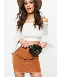 Missguided Black Quilted Studded Circle Bum Bag