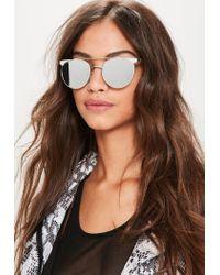 Missguided Metallic Silver Flat Bar Sunglasses