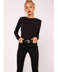 Missguided Crew Neck Ribbed Top Black