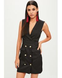 Missguided Black Sleeveless Military Blazer Dress
