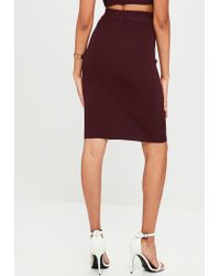 Missguided - Purple Burgundy Bandage Style Midi Skirt Knitted Co Ord - Lyst