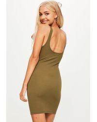 Missguided - Natural Khaki Vest Dress - Lyst