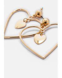 Missguided - Metallic Silver Open Heart Drop Earrings - Lyst