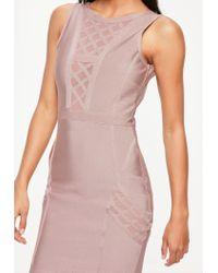 Missguided Purple Bandage Sleeveless Mesh Insert Bodycon Dress