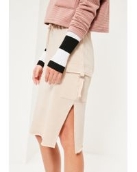 Missguided Natural Nude Split Side Pocket Detail Midi Skirt