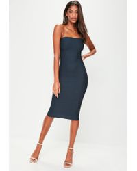 Missguided - Blue Navy Bandage Bandeau Midi Dress - Lyst