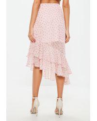 Missguided - Pink Polka Dot Ruffle Wrap Front Asymmetric Hem Midi Skirt - Lyst