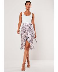 Missguided Petite Pink Snake Print Frill Midi Skirt